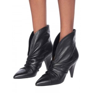 Women Ankle Boots Black Cowhide Pointed Toe Chunky Heel Ruched Booties #10690920584