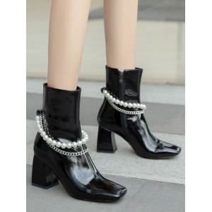 Women Ankle Boots Black Cowhide Square Toe Metal Details Chunky Heel Pearls Booties on style #10690920580