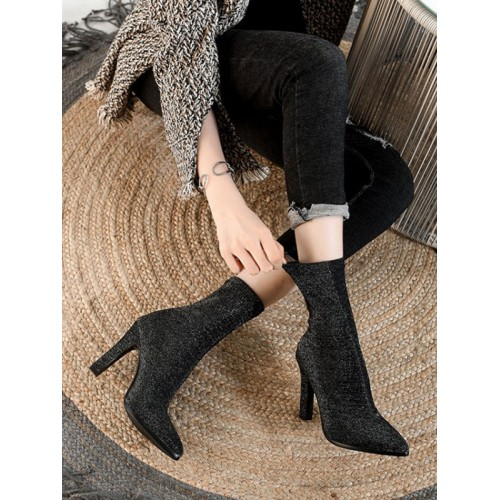 Women Ankle Boots Black Elastic Fabric Pointed Toe Stiletto Heel Booties Trend #10690930466