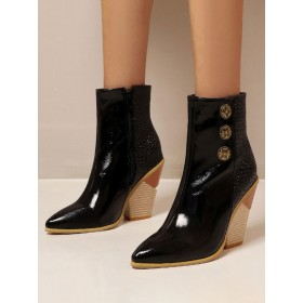 Women Ankle Boots Black Leather Pointed Toe Chunky Heel Color Block Snakeskin Print Booties Business Casual #10690921736