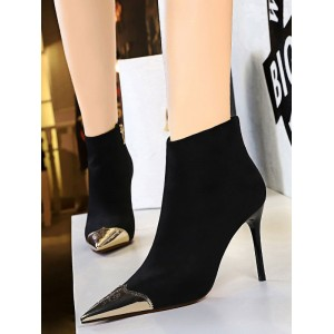 Women Ankle Boots Black Leather Pointed Toe Metal Details Stiletto Heel 3.7