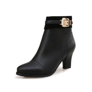 Women Ankle Boots Black Leather Round Toe Metal Details Chunky Heel Online Wholesale #10690923468
