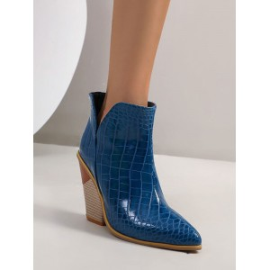 Women Ankle Boots Blue Leather Pointed Toe Chunky Heel Snakeskin Print Booties Clearance #10690921690