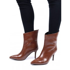 Women Ankle Boots Coffee Brown PU Leather Pointed Toe Stiletto Heel Booties Cost #10690930812