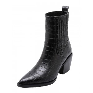 Women Ankle Boots Crocodile Print Pointed Toe Chunky Heel Fashion Boots Trends #10690878790