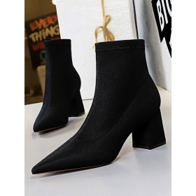 Women Ankle Boots Elastic Fabric Black Pointed Toe Chunky Heel Boots The Most Popular #10690921658