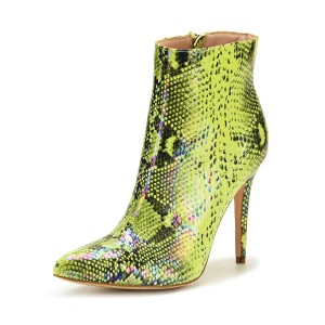 Women Ankle Boots Green Leather Pointed Toe Zipper Stiletto Heel Snakeskin Print Booties high quality #10690921660