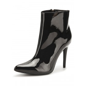 Women Ankle Boots Leather Black Zipper Pointed Toe Boots Business Casual #10690921662