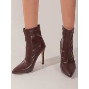 Women Ankle Boots Pointed Toe Stiletto Heel PU Leather Coffee Brown Booties most comfortable #10690967412