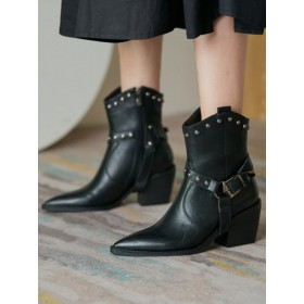 Women Ankle Boots PU Leather Black Pointed Toe Chunky Heel Booties business casual #10690931306