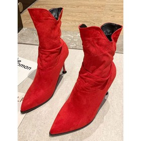Women Ankle Boots Red Elastic Fabric Pointed Toe Stiletto Heel 3.5