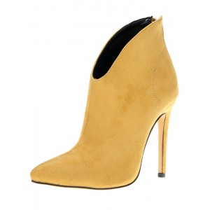 Women Ankle Boots Suede High Heel Pointed Toe Zipper Booties For Women Collection #10690639757