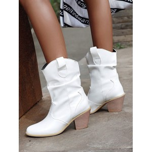 Women Ankle Boots White Leather Round Toe Chunky Heel Carved Embroidered Booties shop online #10690921732