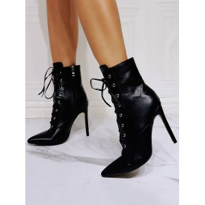 Women Boots Black PU Leather Pointed Toe Stiletto Heel High-Tops Lace Up Booties #10690957434