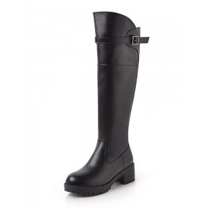 Black Knee High Boots Womens Solid Color Round Toe Puppy Heel Casual Boots spring 2021 #10710879400