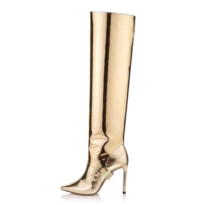 Gold Convertible Knee High Boots Metallic Mirror leather Knee Length Boots for Women Designer #10710919282