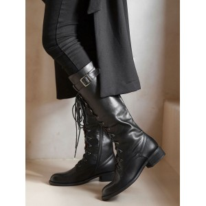 Knee High Boots Womens Black Cowhide Lace Up Round Toe Puppy Heel Combat Boots spring 2021 #10710888020