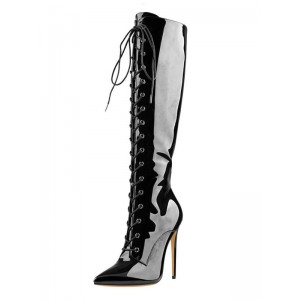 Knee High Boots Womens Black Patent Lace Up Pointed Toe Stiletto Heel Boots #10710887196