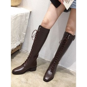 Knee High Boots Womens Lace Up Square Toe Puppy Heel Martin Boots On Line #10710890474