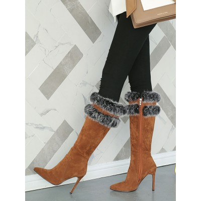 Knee High Boots Womens Micro Suede Faux Fur Pointed Toe Stiletto Heel Winter Boots The Top Selling #10710813776
