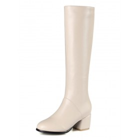 Knee High Boots Womens Solid Color Round Toe Chunky Heel Winter Boots sale next #10710739506