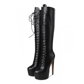 Platform Knee High Boots Womens Solid Color Lace Up Round Toe Stiletto Heel Boots In Store #10710865362