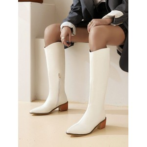 White Knee High Boots For Women Pointed Toe Chunky Heeled Boots shop online #10710929180